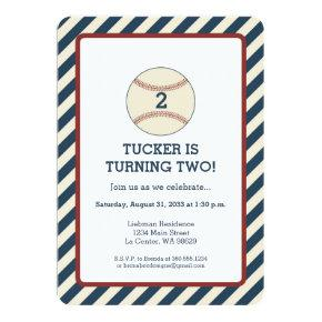 Vintage Baseball Stripe Party Invitations