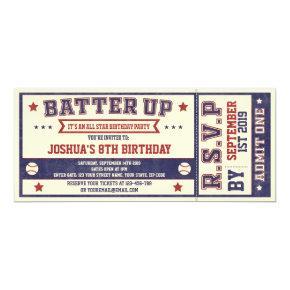 Vintage Baseball Ticket Birthday Invitation