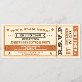 Vintage Basketball Ticket Birthday Invitation
