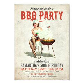Vintage BBQ Birthday Invitations