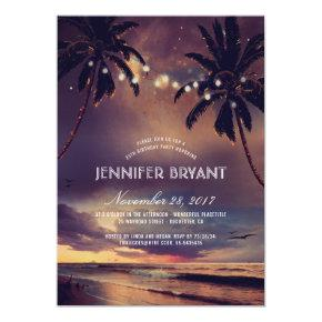 Vintage Beach Sunset Palm Lights Birthday Party Card