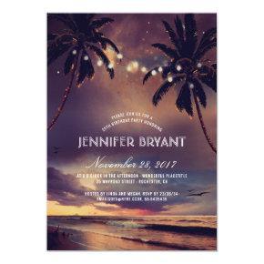 Vintage Beach Sunset Palm Lights Birthday Party Invitation