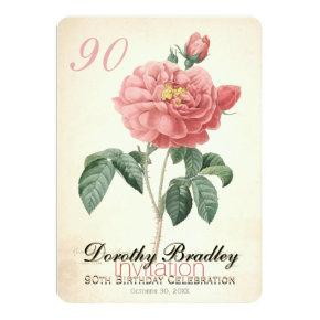 Vintage Blooming Rose 90th Birthday Custom Invitations