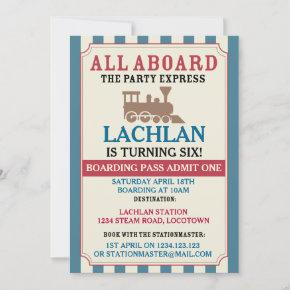 Vintage Blue and Red Train Locomotive Party Invitation