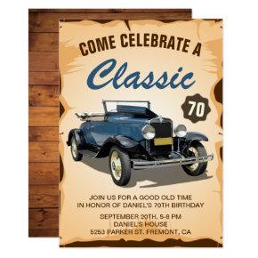 Vintage Blue Car Classic Birthday Invitations