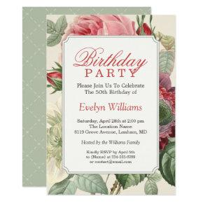 Vintage Botanical Floral Adult Birthday Party Invitations