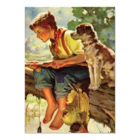Vintage Boy and Dog Fishing Birthday Invitation