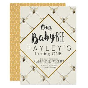 Vintage Bumble Bee Baby Bee 1st Birthday Invitations