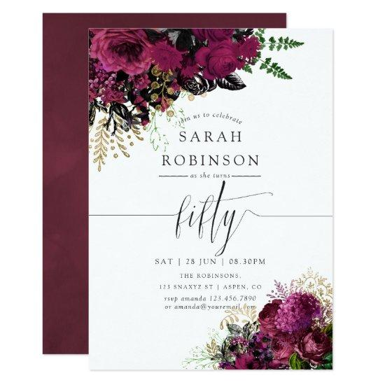 Vintage Burgundy And Gold Floral 50th Birthday Invitation