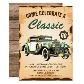 Vintage Car Classic Birthday Party Invitation Candied Clouds