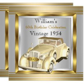 Vintage Car Mans 60th Birthday Party Gold & Silver Card