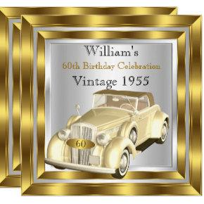 Vintage Car Men's 60th Birthday Party Gold Silver Invitations