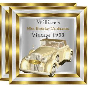 Vintage Car Men's 60th Birthday Party Gold White Invitations