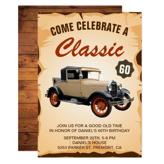 Vintage Car Milestone Birthday Party Invitations Candied Clouds - Classic car invitations