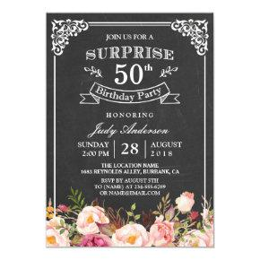 Vintage Chalkboard Floral Surprise Birthday Party Invitations