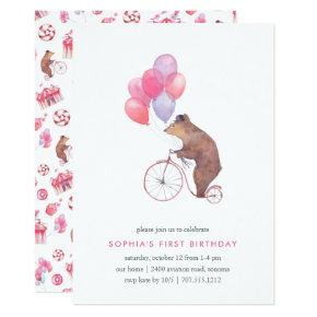 Vintage Circus Bear Birthday Party Invitation