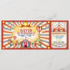 Vintage Circus Birthday Ticket Invitation