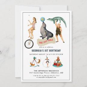 Vintage Circus Carnival Birthday Party Invitation