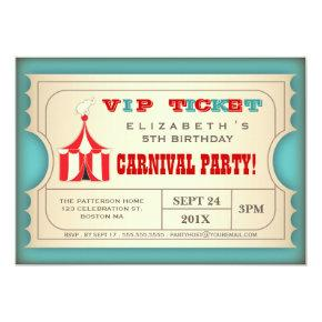 Vintage Circus Carnival Birthday Party Ticket Invitation