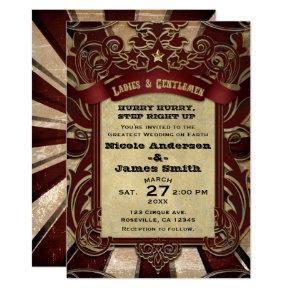 Vintage Circus Carnival Elegant Showtime Wedding Invitation
