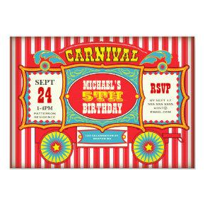 Vintage Circus Carnival Wagon Birthday Party Invitations