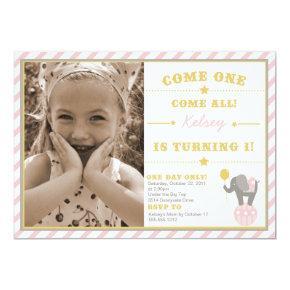 Vintage Circus Elephant - 1st Birthday Invitations