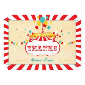 Vintage Colorful Carnival Thank You Cards