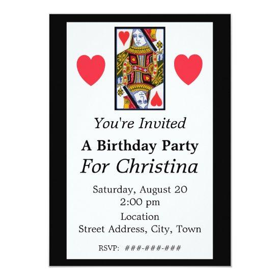 vintage colorful ornate queen of hearts birthday invitations