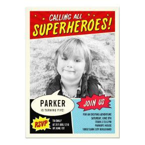 Vintage Comic Superhero Birthday Party Invitation