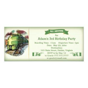 Vintage Diesel Train Birthday Party Invitations