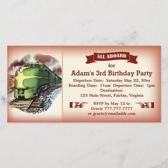 Vintage Diesel Train Birthday Party Invitation Red