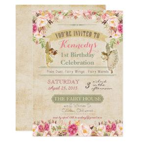 Vintage Fairy First Birthday Invitations