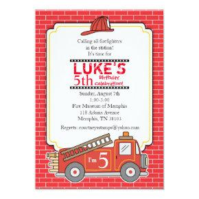 Vintage Fire Truck Birthday Party Invitation