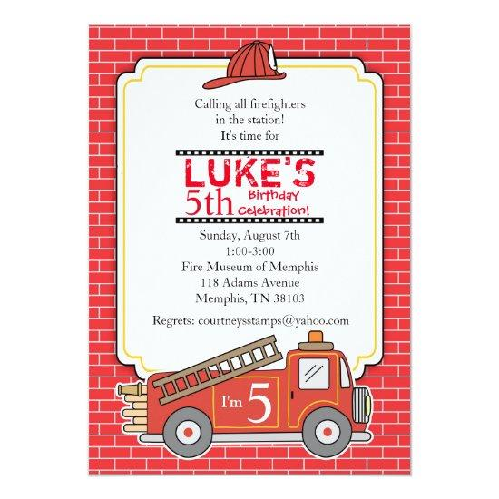 Vintage Fire Truck Birthday Party Invitation Candied Clouds
