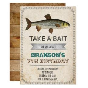 Vintage fishing party invitation