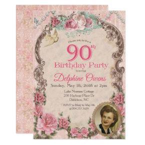 Vintage Floral 90th Birthday Invitation