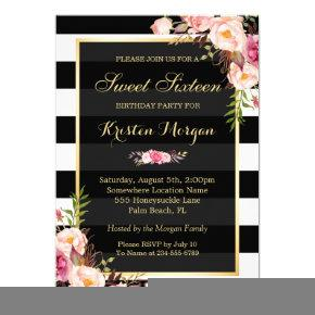 Vintage Floral Decor for Sweet Sixteen Party Invitation