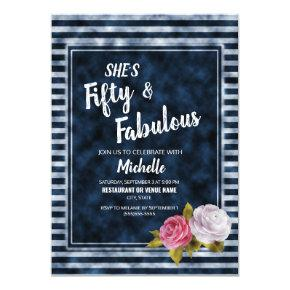 Vintage Floral Navy Blue White Striped Fifty Year Invitation