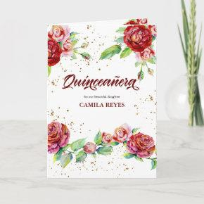 Vintage Floral Roses Red Pink and Gold Quinceanera Invitation