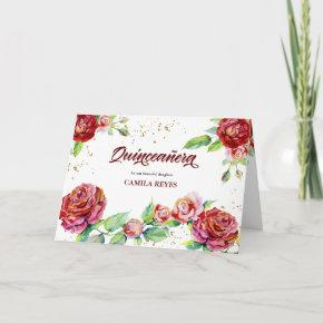 Vintage Floral Roses Red Pink Gold Quinceanera Invitation
