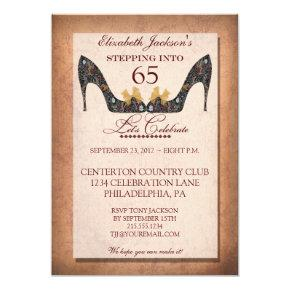 Vintage Floral Shoe 65th Birthday Party Invitations