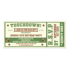 Vintage Football Ticket Birthday Invitation