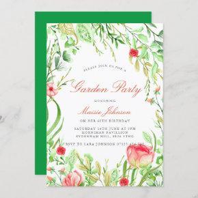 Vintage Garden Party Birthday Invitation