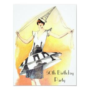 Vintage Girl in Eiffel Tower Costume 50th Birthday Invitation