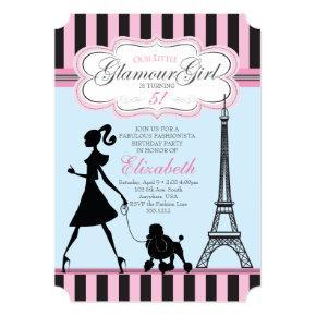 Vintage Glamour Girl Paris Birthday Invitation