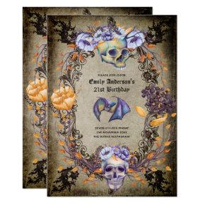 Vintage Goth Skulls Purple Orange Floral 21st Girl Invitation