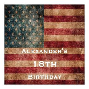 Vintage Grunge USA Stars & Stripes 18th Birthday Invitation