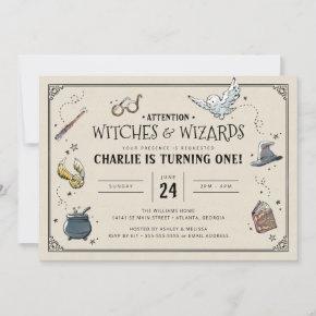 Vintage Harry Potter First Birthday Invitation