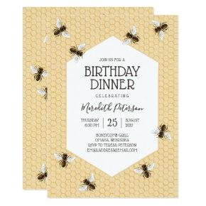 Vintage Honeybee Birthday Dinner Invitation