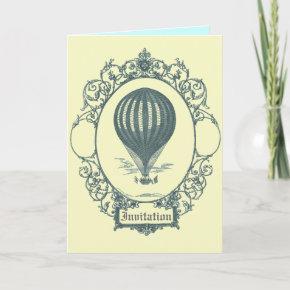 Vintage Hot Air Balloon Pilot Birthday Party Invitation